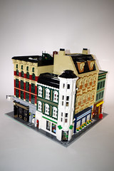 Coffee Shop, Pharmacy, Clothing Store & Bar (jskaare) Tags: world city coffee shop bar corner store clothing cafe lego pharmacy creation custom own moc
