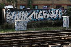 Plonk / Nekah (Alex Ellison) Tags: urban graffiti boobs railway line chrome graff westlondon trackside neka jpt plonk 1t nekah neks