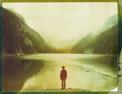 Green Mountains (Bastiank80) Tags: camera lake mountains color green film nature analog polaroid moving silent outdoor being air watching large free haus hike fresh explore human instant waters 4x5 sheet format feeling expired ebony hearing breathing 79 noises ingolstädter hundstod seehorn bastiank diesbachstausee sv45ti