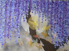 幻夜 - illusory  night (清水みのり - Artist) Tags: art japan japanese kyoto origami artist minori giapponese shimizu イタリア glicine 藤 折り紙 ボローニャ 芸術家 日本画 アーティスト 幻夜 清水みのり 京おりがみ