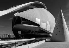 View of El Palau de Les Arts Reina Sofia (Valencia) (BW) (Sony RX100M3) (markdbaynham) Tags: city urban bw white black building valencia monochrome spain sony cybershot espana espanol metropolis es dsc rx100m3 rx100iii rx100mkiii rx100mk3 rx100mark3