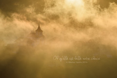 quelle est belle notre chance (Bazalai) Tags: morning november light sun mist church silhouette landscape gold plesa mariusvasiliu terradesign bazalai plesza