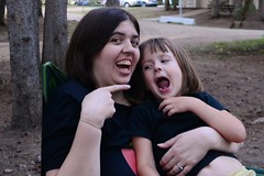 Me and My Rosie (Vegan Butterfly) Tags: family camping camp woman silly girl mom outside outdoors kid funny child faces mommy daughter mother together vegans
