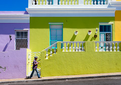 Bo Kaap (miemo) Tags: africa street city travel building colors architecture southafrica person spring colorful exterior pedestrian olympus capetown omd bokaap em5 panasonic1235mmf28