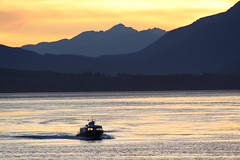 Boat taxi (jeffers.christie) Tags: sunset mountains ocean quadra water taxi