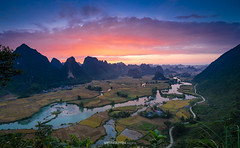 The morning light landscape view at Trung Khanh, Cao Bang (:: Focus Studio ::) Tags: adventure asia asian cao bang cloudy country freshness green highland hill lake landscape mountain mountainous natural nature northern outdoor park plants province reservation reserve river rock scenery scenic sky travel tree tropical untouched valley vietnam vietnamese water sunset