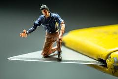 On A Knife's Edge (SKAC32) Tags: macromondays edge preiser ooscale stanleyknife yellow canon100mmf28macro extensiontube