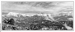 Annapurna Range from Bhumdi (1520m) (L'Abominable Homme de Rires) Tags: népal atalante bhumdi nb noiretblanc blackwhite canon 5dmiii 5dmkiii tamron 2470mmf28 machhapuchhre anapurnarange annapurna himalaya hiunchuli mardihimalbasecamp huwans clubaventure trekdumardihimal mardihimaltrek travel trekking mountain fishtail acap eos5dmarkiii