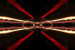 299/366 - Time travel pt. 2 (Sinuh Bravo Photography) Tags: canon eos7d longexposure lightstream colors abstract gimp red gold black potd2016 ayearinphotos symmetry night bright