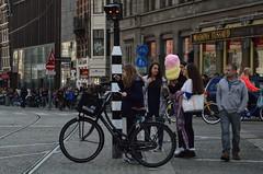 candyfloss girls (coffeebucks) Tags: amsterdam bicycle street urban outdoor streetphotography candyfloss girls tramlines tramtracks