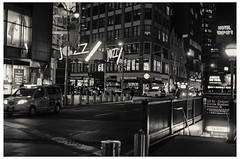 Jazz At 59th St (swanksalot) Tags: nyc availablelight nocturne noflash jazz neon sign taxi subway 59th columbuscircle blackandwhite bw explored platinum hotelempire night nightlife