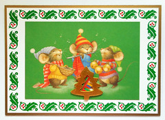 Christmas card 14_2016 (tengds) Tags: christmascard card handmadecard green white red gold chipmunks tree recycledcard reusedcard papercraft tengds