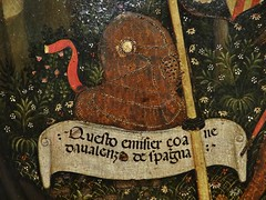 1432 - 'ex-voto to St. Francis of Assisi' (Antonio Orsini), Ferrara, Muse des Arts Dcoratifs, Paris, France (roelipilami) Tags: 1432 ex voto exvoto st saint francis assisi francisco franz franciscus francois assise ferrara ferrare antonio orsini carminati coronation master museum muse des arts les dcoratifs paris armor armour armatura armadura harnas rstung shield knight embrace flowers renaissance painting nun bascinet mail strap lance scroll visor