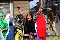 Kashmiri muslim  women shout anti India slogans during a protest in Srinagar the summer capital of Indian controlled kashmir (Umer Asif.) Tags: kashmiri muslim women shout anti india slogans