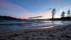 Sand and sunset (Middle aged Nikonite) Tags: lake tahoe beach sunset colors nikon d7200 clouds seacape landscape waves water california outdoor shore sand