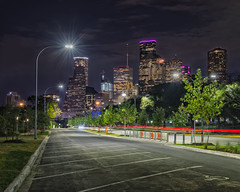 Viewing Houston Highrises from Allen Parkway (runcolt12) Tags: houstontexas houston allenparkway buffalobayou memorialdrive janegregorygarden texas skyscapers nightscape lonestar highrises nikon d800e