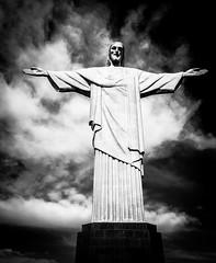 Cristo Redentor (ravalli1) Tags: rio brazil brasile cristoredentor corcovado cidademaravilhosa christ tijuca statue architecture riodejaneiro panasoniclx100 blackandwhite pretoebranco