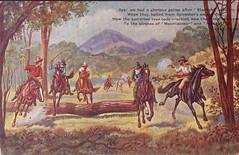 Australian bushranger postcard - 1908 (Aussie~mobs) Tags: starlight bushranger tinted postcard 1908 lawless robbers horses poem