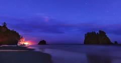 Camping at Second Beach (Olympic Peninsula, WA) (Sveta Imnadze) Tags: nature seascape olympicpeninsula wa pacificnorthwest twilight stars clouds seastacks secondbeach lapush wow