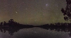 the andromeda galaxy and the pleiades star cluster shine overhead at Thuraggi irrigation channel, St George, Queensland, Australia (andrew.walker28) Tags: night sky stars starlight starscape landscape water reflections st egorge queensland australia long exposure buckinbah airglow green andromeda galaxy pleiades star cluster