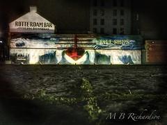 Tall Ships Mural, Clarendon Dock (Lealtadpics) Tags: mobile night city coantrim street clarendondock ulster tallships boat nireland iphone belfastlough belfastharbour belfast