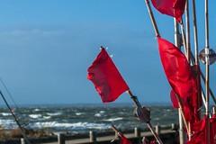 Bojen flaggen (ruedigerhey) Tags: meer hafen flaggen wellen wind sturm himmel sonne fischer fischernetz natur sommer poel boje heulboje fisch