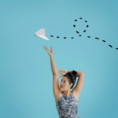 134/365 To Never Land (itskatrinayu) Tags: paperairplane illustration surreal self portrait woman 365 project