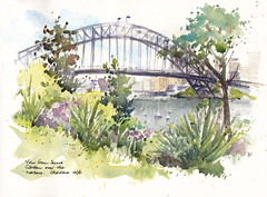 Wendy Whiteley's Secret Garden view over the harbour (chris.haldane) Tags: wendywhiteleyssecretgarden wendywhiteley sydneyharbour sydneyharbourbridge watercolour