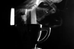 Cafe noir (jimiliop) Tags: cafe coffee noir blackwhite bw blackandwhite noiretblanc cup home tabletop atmosphere mystery vapor steam light drops drink delight hot warm silhouette 50mm black halflight espresso