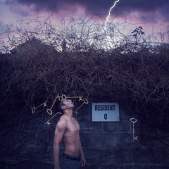 Resident Zero. (Adam Hague) Tags: lightning demolition keys resident selfportrait canon 50mm sky purple wall boy male body zero emotions art conceptual