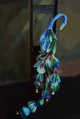 Blue Peacock Kanzashi. Tsumami Zaiku  02 (Bright Wish Kanzashi) Tags: blue wedding green bird phoenix swan handmade peacock fantasy gradation handdyed longtrail kanzashi fascinator hairornament tsumamikanzashi tsumamizaiku