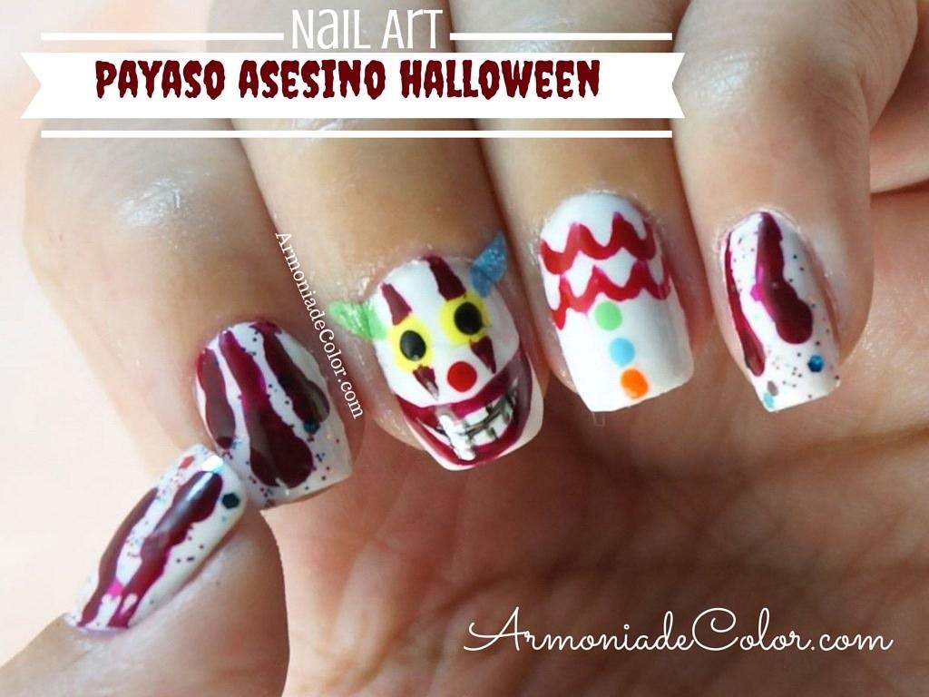 uñas payaso halloween 2