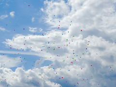 Baloons (Jevgenijs Slihto) Tags: sky colors beautiful clouds freedom colorful nuvole sony flight himmel wolken cu latvia cielo nubes nuvens nuages emotions globos ceu baloons riga childish rga latvija   baloni debesis mkoi makoni spilce hx300 sonyhx300