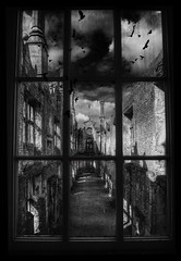 The Gothic Window (Mark Fearnley Photography) Tags: light blackandwhite bw castle window birds dark gothic mysterious crows statelyhome gothick