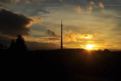 Sunset over Emley Moor (littlestschnauzer) Tags: above uk autumn light sunset sky sunlight west tower silhouette rural evening early nikon skies bright yorkshire landmark structure tall local rays moor transmitter 2014 emley d5000