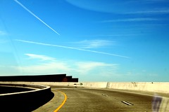 Freeway One (See El Photo) Tags: california ca city blue shadow sky urban 15fav favorite usa brown white color colour cali skyline clouds canon concrete outside outdoors eos rebel grey drive highway driving colore pavement empty overpass bluesky dirt solo lane freeway barrier lonely takenwhiledriving fav void contrails couleur rialto whiteline brownish yellowline retainer faved airplanetrails seeelphoto t1i chrislaskaris