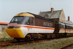 19900318 123 Barnstaple. 43099 Has Arrived With Hertfordshire Railtours 125 Special 'The Atlantic Coast Express' From Paddington (15038) Tags: railways trains br britishrail intercity125 class253 class254 diesel hst atlanticcoastexpress hertfordshirerailtours 43099 barnstaple powercar highspeedtrain