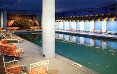 Concord Resort indoor pool Kiamesha NY (Edge and corner wear) Tags: new york pool modern swimming vintage hotel belt pc inn postcard modernism motel indoor chrome motor borscht midcentury