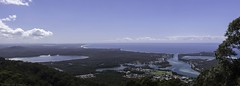 Panorama from North Brother Mountain Lookout (Ralph Green) Tags: panorama australia newsouthwales northhaven lighthousebeach ptgui tackingpoint laurieton queenslake northbrothermountain grantshead northbrothermountainlookout