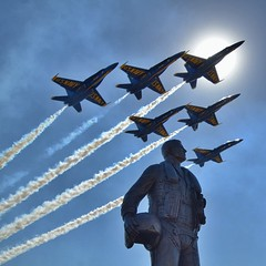 The #blueangels fly over the aviator memorial statue at Naval Air Station #Lemoore. #navy #navalaviation #nasl #centralvalley #jets #fa18 #hornets (apol3) Tags: blue sky sun station statue plane square us memorial aircraft aviation military air jets central navy jet angels valley squareformat planes naval aviator pilot hornets nas fa18 lemoore nasl iphoneography instagramapp uploaded:by=instagram