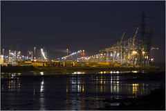 Southampton Container Terminal (Maw*Maw) Tags: reflection night port photoshop canon eos lights ship crane terminal cargo container 7d cs6