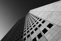 Geometry - City-Hochhaus Leipzig (Turnvater Janosch) Tags: blackandwhite bw tower monochrome architecture skyscraper germany nikon saxony perspective leipzig highrise nikkor uniriese cityhochhaus panoramatower
