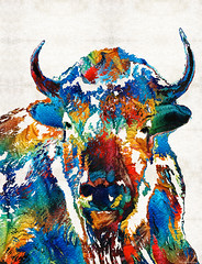 Colorful Buffalo Art - Sacred - By Sharon Cummings (BuyAbstractArtPaintingsSharonCummings) Tags: nature animal animals buffalo colorado montana natural american planes wildanimal prairie wilderness spiritual bison livestock americanindian realism wildanimals whitebuffalo wildbuffalo buffalofarm buffaloranch sharoncummings sacredanimal countryvet