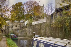 Towpath (scottprice16) Tags: uk autumn england church boats canal yorkshire holy trinity skipton leedsliverpool canong1xmark2