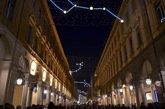 Torino - Luci d'artista 2013 (Andrew Acey) Tags: christmas winter light people roma art architecture night buildings torino nikon artist perspective via modular luci constellation luminaries artista modularity costellazioni 2013 d5100