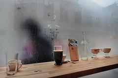 Coffee & 'Bergensvær' (aha42   tehaha) Tags: street window rain norway norge droplets figure droplet bergen kaffe noreg flickrsbest bkb nikoncapturenx2 bergenkaffebrenneri sonyrx100m3