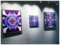 """Featured Artist Wall at The Banana Factory (Stephanie """"Biffybeans"""" Smith) Tags: blue red art painting artist purple geometry vibrant modernart mandala selftaught sacred meditation spirituality psychedelic lehighvalley visionary stephaniesmith transformational sacredart sacredgeometry visionaryartist personalgrowth bananafactory biffybeans"""