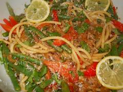 string beans red pepper pecorino (sfwooss) Tags: pasta sardines harrisa