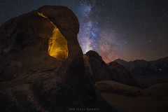 The Eye of the Alabama Hills (Michael Bandy) Tags: sky lightpainting nature night stars landscape rocks arch natural cyclops galaxy universe lonepine milkyway easternsierras alabamahills