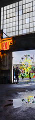 the ferris wheel at sneak peek (pbo31) Tags: sanfrancisco california door autumn party panorama sculpture motion black color reflection art halloween yellow nikon october ride spin large panoramic bayarea ferriswheel exit stitched dogpatch sneakpeek d800 pier70 2014 ghostship lightstream